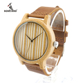 Bobobird A20Womens Casual Antique Round Bamboo Wooden Watches With Leather Strap Lady Watches Top Brand Luxury
