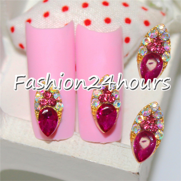 10pcs/pack Pink Gold Alloy All For Nail Art Supplies Nail 3d Decoration Rhinestone Charms Jewelry(China (Mainland))