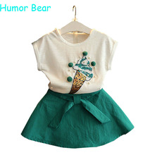 Humor Bear Summer Fashion Lovely Ice Cream Baby Girls Clothes Kids Clothes Party Dresses Girl Dress Clothing Set Girls Suit(China (Mainland))