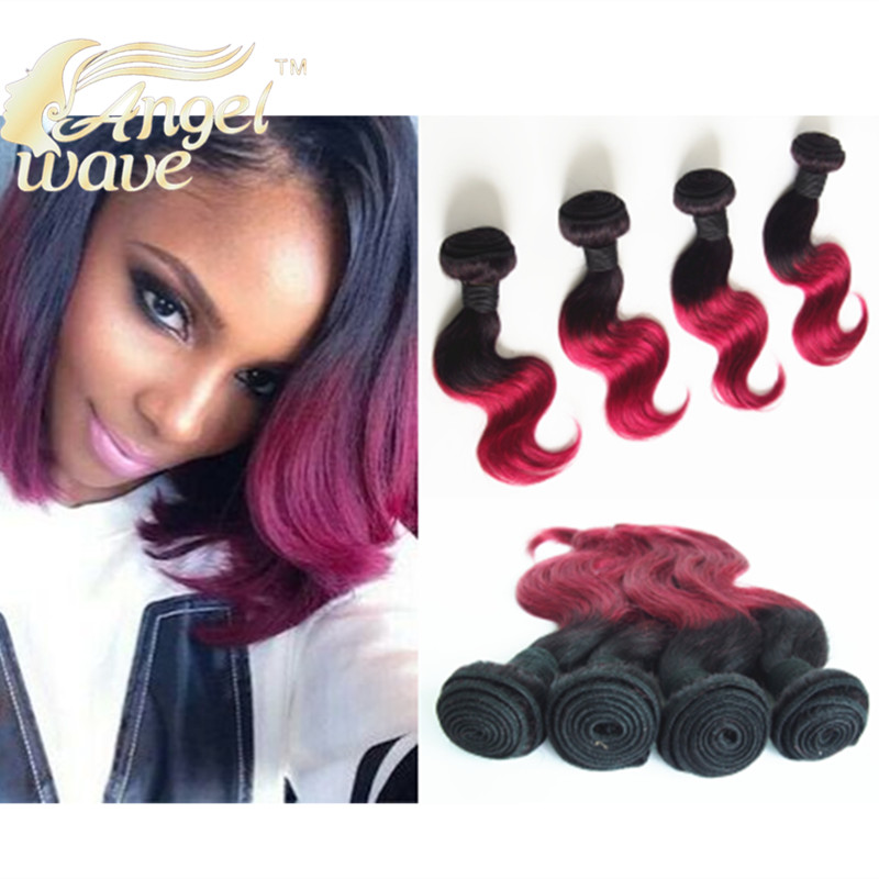 Angel Wave Hair Products Four Piece Burgundy Weave 10 inch Short Bob Body Wave Ombre Human Hair 1B/Burgundy 1B/27 1B/30 Color(China (Mainland))