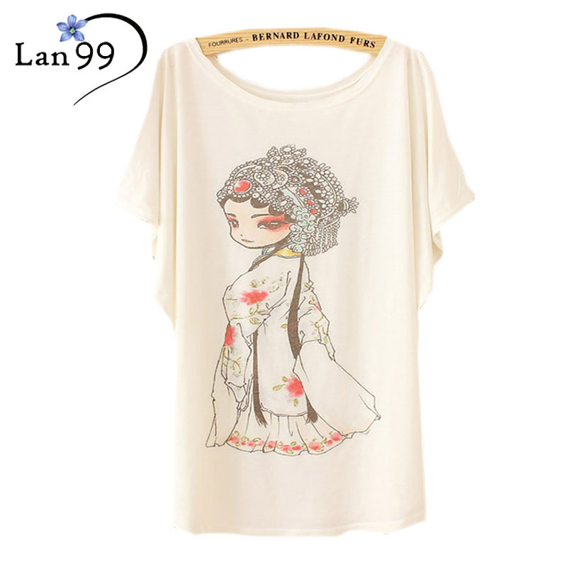 Women s Tops Tshirts 2016 Fashion Chinese Beijing opera Print Camisetas Mujer Plus Size t shirt