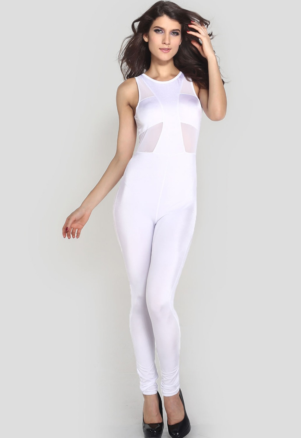 White Tight Jumpsuit - Breeze Clothing
