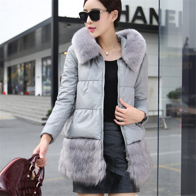 2015 New Women Long Leather Jacket Outerwear Winter Coat Female Fur Collar Hooded Warm Down Cotton Outside Coat Female WY295Одежда и ак�е��уары<br><br><br>Aliexpress