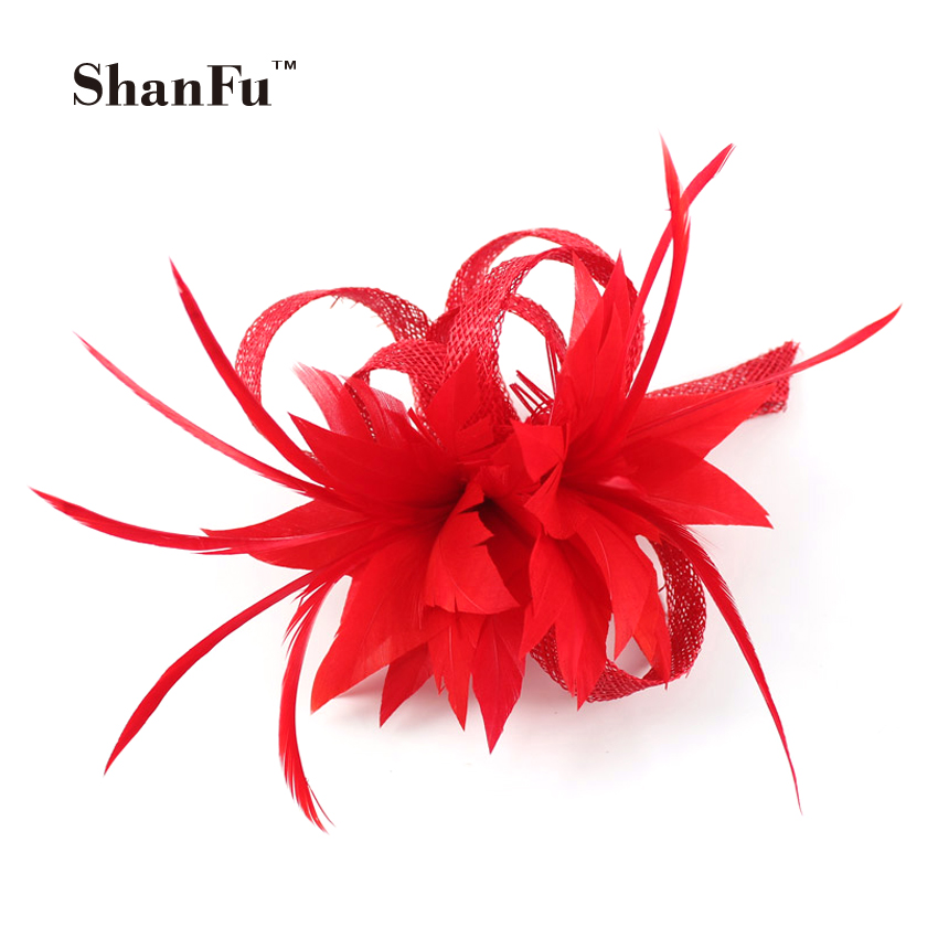 ShanFu Women Small Sinamay Fascinators Feather Flowers Hair Clip Bridal Hair Accessories can be Brooch for Wedding SFB7092(China (Mainland))