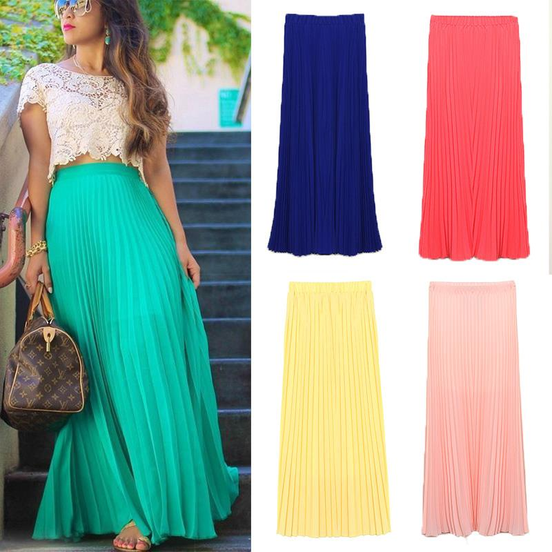 Free Shipping New 2015 Spring Summer Fashion Long Chiffon Skirts Female Candy Color Pleated Maxi