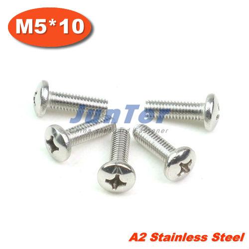 100pcs/lot DIN7985 M5*10mm Stainless Steel A2 Pan Head Phillips Screw<br><br>Aliexpress