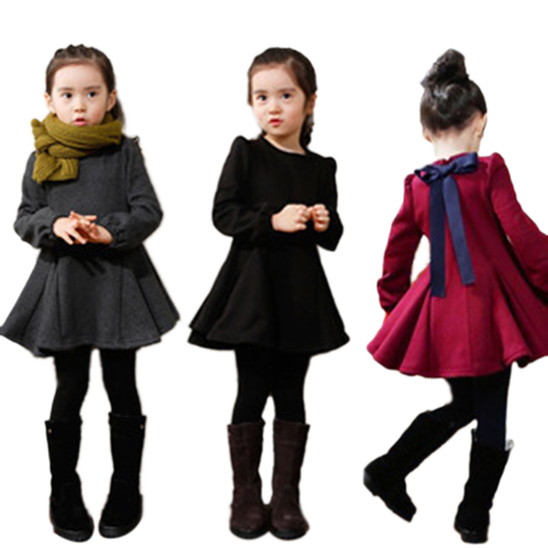 Red Gray Black Girls' Dress Winter Children Clothing Long-Sleeved Ruffles Girl Dresses Girls Clothes BZ861209(China (Mainland))