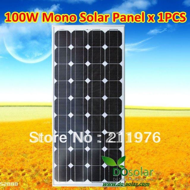 FREE SHIPPING--China manufacture supply mono crystalline silicon 12V 100Wp solar PV panel in stock