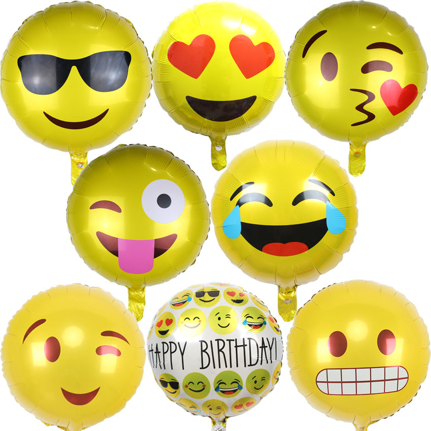 10pcs/lot QQ expression ballons Emoji foil balloon happy birthday party Emoticons helium ballon wedding decoration ballons(China (Mainland))