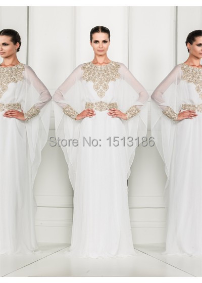 Arabic Bubai Evening Dresses Sheer Crew Beaded Long Sleeve A-Line Chiffon Dress Gown Vestido de festa XY806 - bridal_gown-2 store