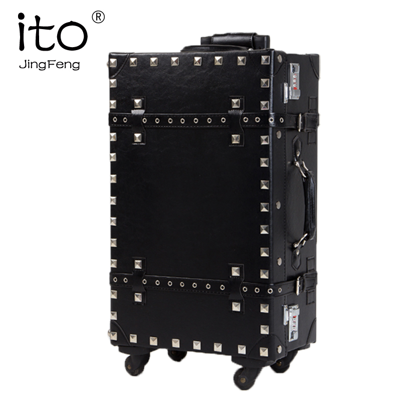 Ito jengfeng vintage travel bag trolley luggage universal wheels rivets diamond PU box password - dream meng's store