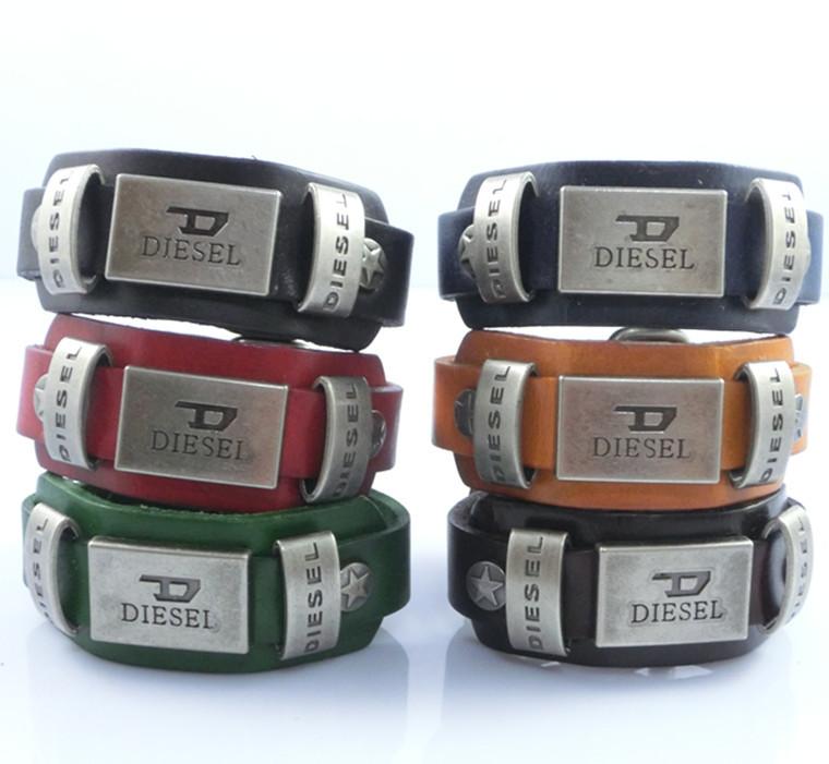 Pulseiras Men Vintage Buckle black and Brown Punk  Leather Bracelets Bangles New 2015 Designer Bijoux Handmade Bijoux<br><br>Aliexpress