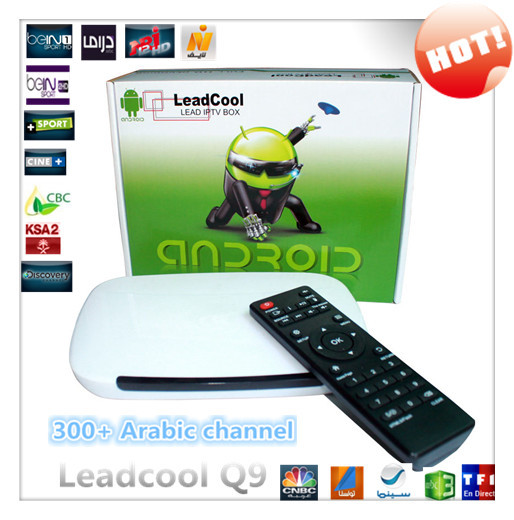 Arabric IPTV BOX leadcool Q9 android tv box with 400+ arabic french channels no monthly pay 1 year IPTV APK Bein sports(China (Mainland))
