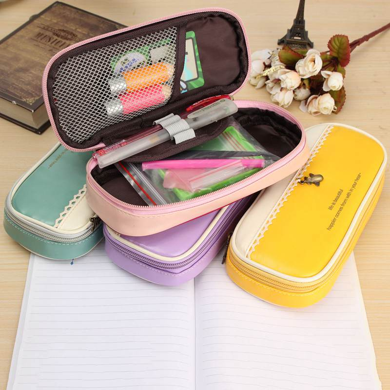 Multifunction Pandent PU Leather Pencil Case Lovely Big Capacity Pencil Pen Bag Escolar Students School Supplies(China (Mainland))