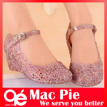 hole shoes flat sandals bird's-nest plastic crystal jelly women sandals shoes(China (Mainland))
