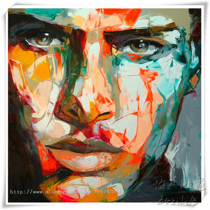 Palette knife painting portrait Palette knife Face Oil painting Impasto figure on canvas Hand painted Francoise Nielly Cool Face(China (Mainland))