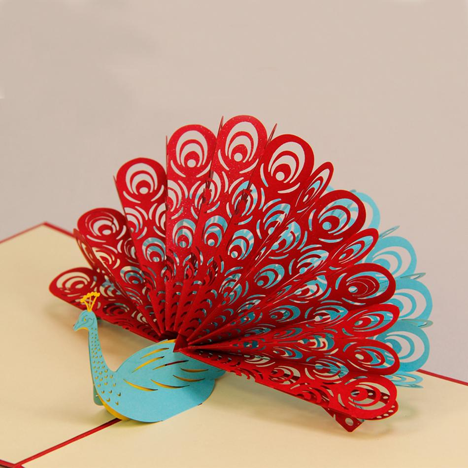 3d Origami Red Peacock