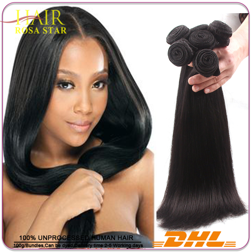 Rosa Hair Products Straight Brazilian Virgin Hair Weaves 3 Bundles/Lot Unprocessed Virgin  Brazilian Straight Hair Human Hair We