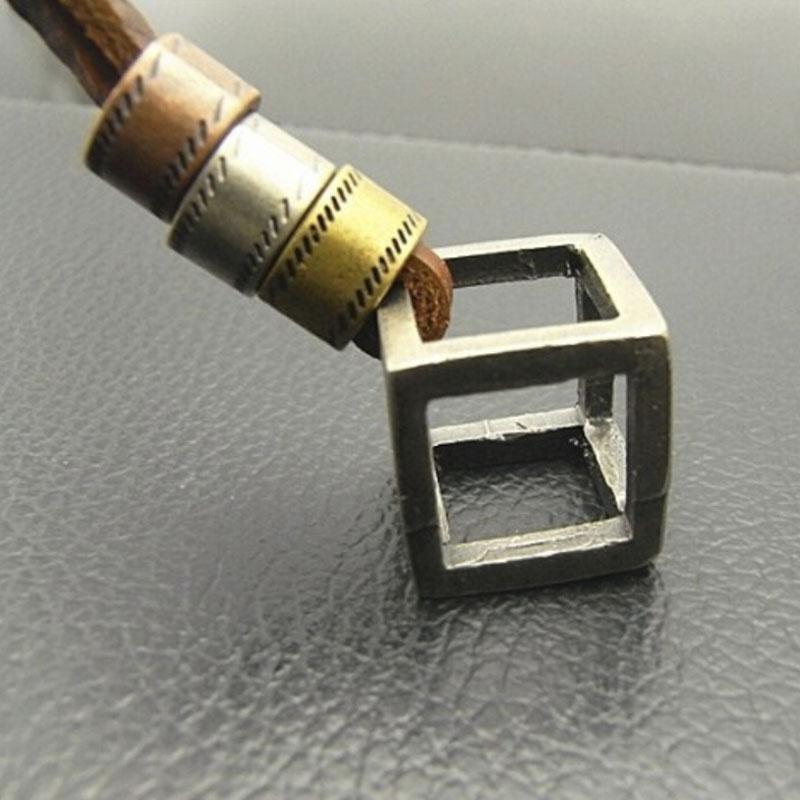 Men Jewelry Cube Necklaces & Pendants Cool Men Pendant Punk Design Genuine Leather Necklace Summer Style(China (Mainland))