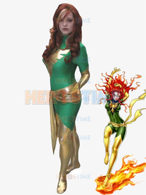 green and golden shiny metallic lycra spandex phoenix zentai halloween costumechina mainland - Halloween Costumes In Phoenix