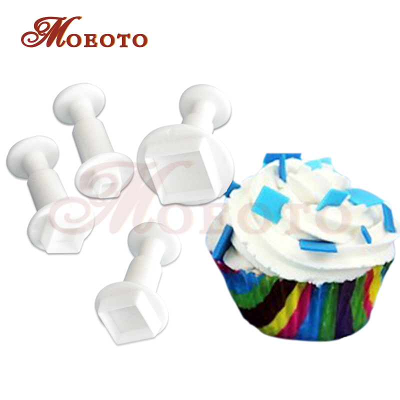 Square plastic fondant plunger cutters 4 pieces sets,christmas cupcake plunger cookie cutters,cake decoration tool free shipping(China (Mainland))
