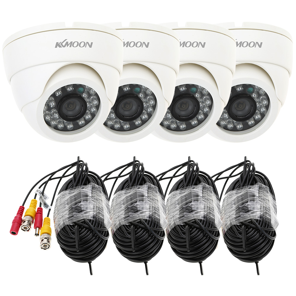 KKMOON 4pcs 800TVL Security Camera Kit IR Night Vision with 4 * 60ft Video Cable 24 Leds Camera For Home Surveillance System Kit(China (Mainland))