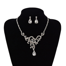 Bridal Wedding Bride Silver Plated Rhinestone Necklace Earring Jewelry Set Party(China (Mainland))
