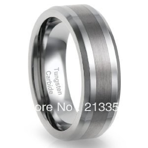 Free Shipping!USA Hot Selling E&C TUNGSTEN JEWELRY 8MM Tungsten Comfort Fit Wedding Band Ring Brushed Centered Flat Top Ring(China (Mainland))