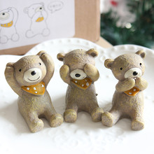Look Up To The Sky Cure Style Cute Resin Animals No See No Speak No Hear Home Decoration Cute Animal Resin Crafts Photo Prop(China (Mainland))