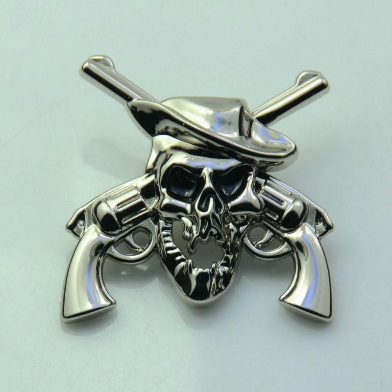 "Wholesale ! 50pc 1-1/2"" Western Skull Concho Cowboy Decor Crossed 1861 Colt Revolver Pistols Conchos Silver(China (Mainland))"