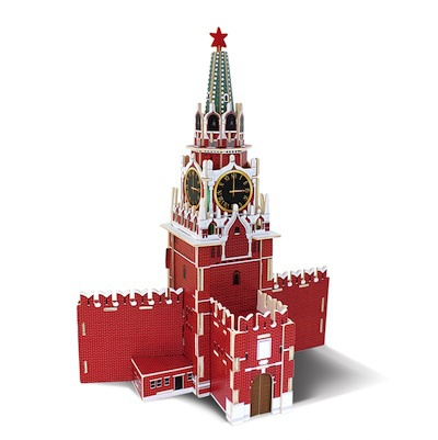 Children Educational Toy Wooden 3D Puzzle DIY Building Model Wold Great Architecture Russia Spasskaya Tower - BQ House store