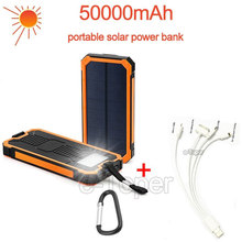 Outdoor Solar power bank 50000mAh powerbank portable with usb charger 18650 cell for iPhone ipad Samsung PK power bank xiaomi(China (Mainland))