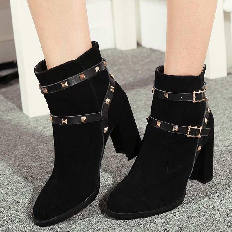 morden style hot rivets bukle combine shoes woman pure black high heels fashion ankle boots genuine leather short boots women<br><br>Aliexpress