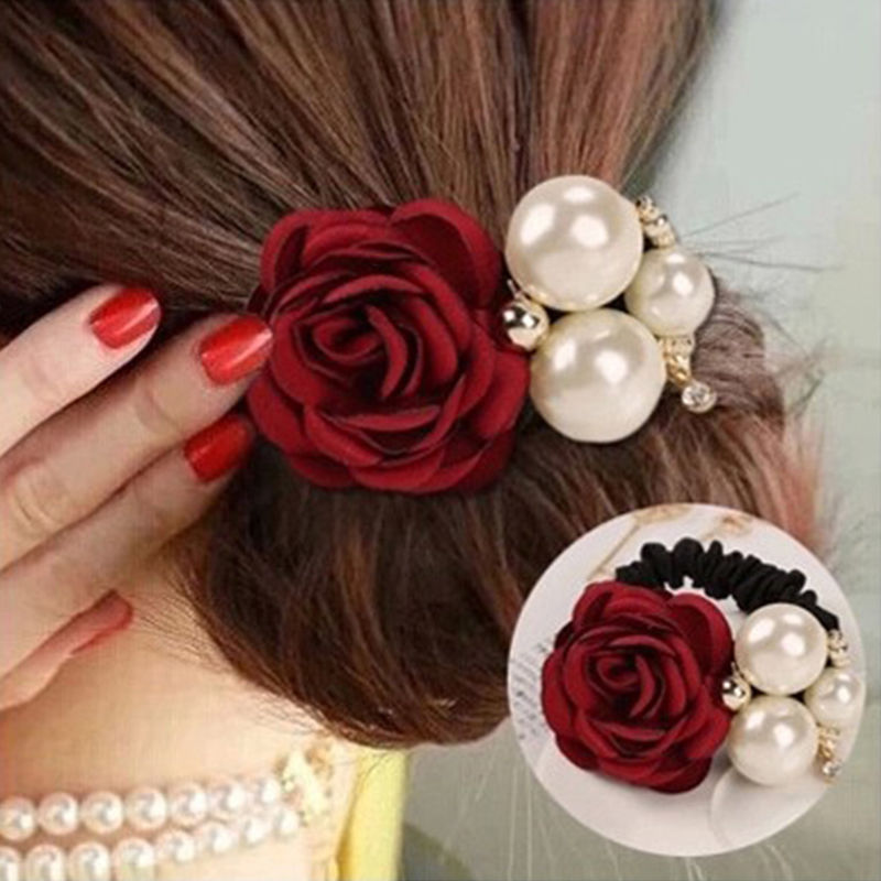 Fashion Pearl Flower Hair Bands for Women Girls Satin Big Rose Three Pearls Decor Elastic Hairbands Ponytail Headband(China (Mainland))
