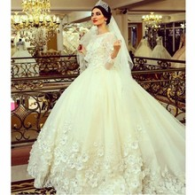Vestido De Noiva 2016 Vintage Cathedral Train Dress Ball Gown Flowers Lace Long Sleeve Muslim Wedding Dresses(China (Mainland))