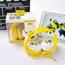 2016 Minions Headphone with Mic for Iphone 5 5s 6 6plus cute music stereo kids mobile phone headset cartoon headband headset AY3