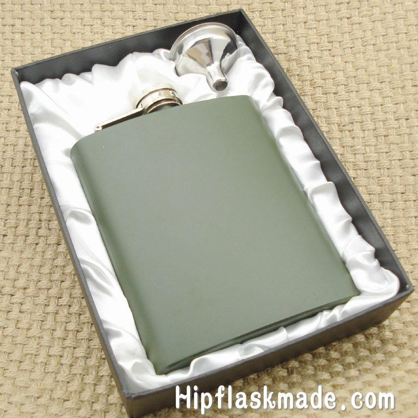 arm green color painted ALCOHOL stainless steel hip flask with free funnel in black gift box(China (Mainland))