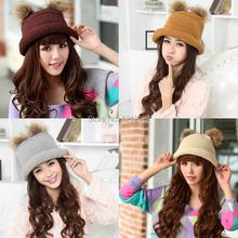 Women Winter Warm Lovely Knitted Roll-up Hem Bucket Hat Raccoon Ball Cap HB88(China (Mainland))