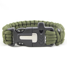 Outdoor Survival Bracelet Kits men Wristbands Emergency Rope Gear Whistle Flint Fire Starter Scraper Camping Hiking