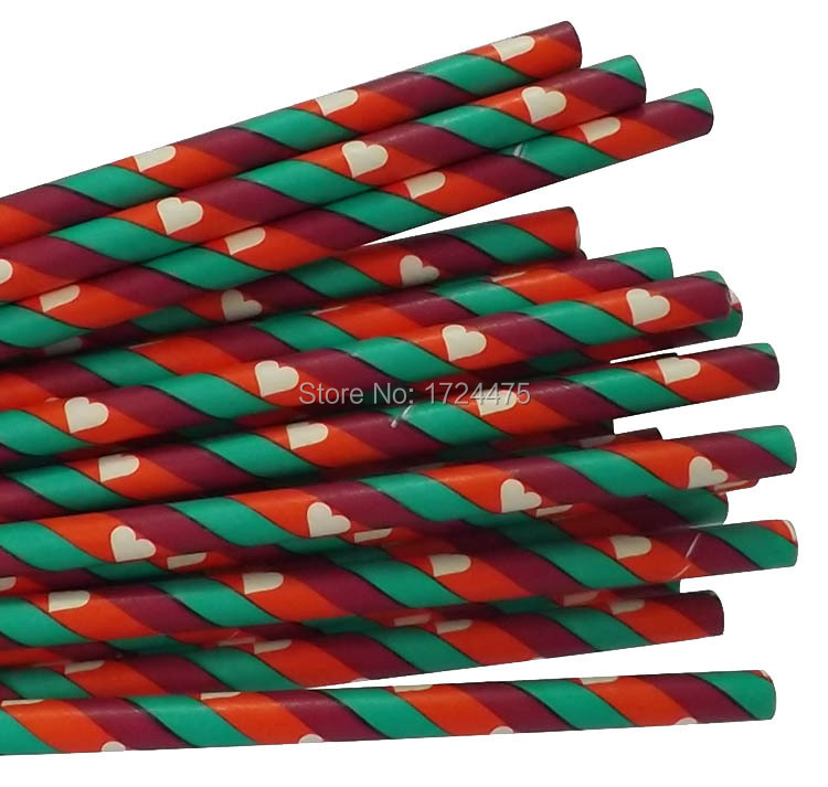 Lovely stripe paper straws, purple&red&green Drinking Straws,Party Supplies,Valentine/Wedding Decoration,100pcs/lot(China (Mainland))