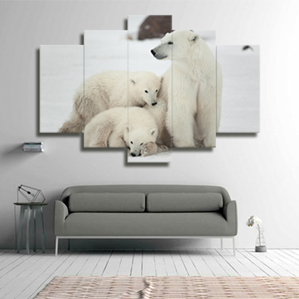 no frame polar bear canvas decor oil framework modular picture painting mural tableau deco on. Black Bedroom Furniture Sets. Home Design Ideas