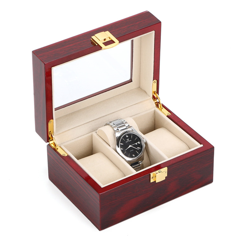 Free-Shipping-3-Grids-Watch-Display-Box-Red-High-Light-MDF-Watch-Boxes-Fashion-Watch-Storage