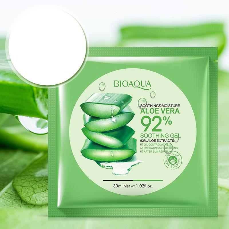 12Pcs BIOAQUA Natural Aloe Vera Gel Face Mask Skin Care Moisturizing Oil Control Wrapped Mask Shrink Pores Facial Mask