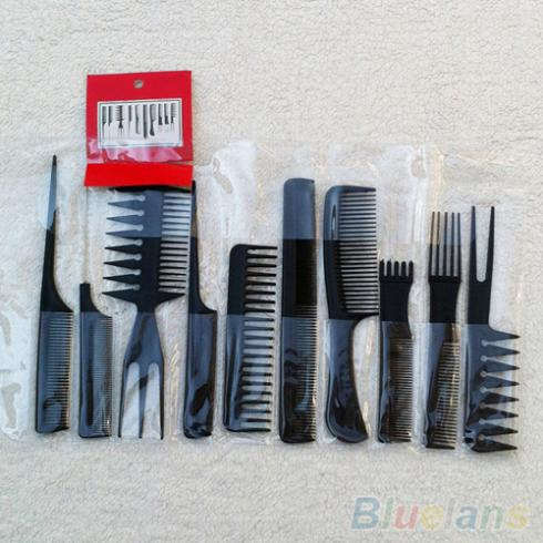 10Pcs Black Pro Salon Hair Styling tools Hairdressing Plastic Barbers Brush Combs Set 2K1M(China (Mainland))