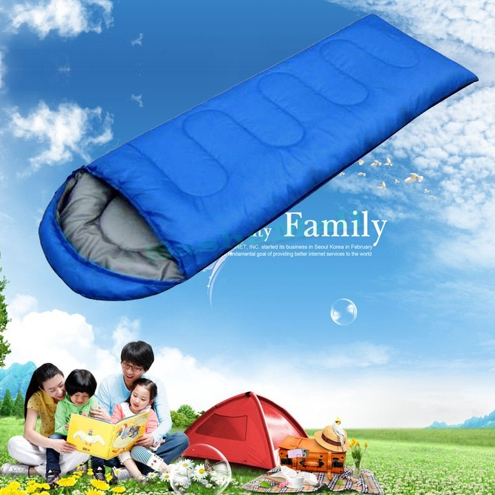 Hot Portable Outdoor Camping Travel Cotton Sleeping Bag Blue Color Sleeping Bags For Camping Us24(China (Mainland))