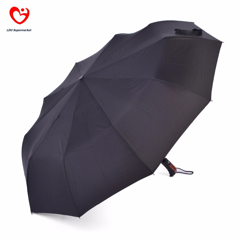 Big Size 10 Spokes 3 Fold Automatic Men Black Large Rain Umbrellas For Sale Quality Portable Compact Travel Umbrella Parasol (China (Mainland))