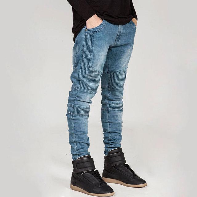 2016 новый байкер джинсы человек локомотив ретро тонкий брюки поддельные молния дизайн ...