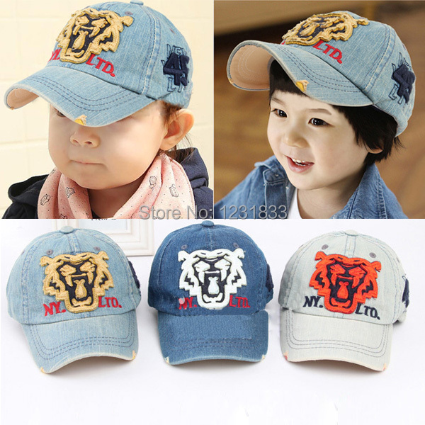 Boys Kids Denim Tiger Print Baseball Hat Girls Snap back Cap Cowboy Sports(China (Mainland))