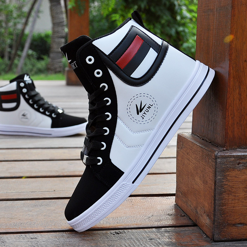 High Top Casual Shoes For Men 2016 New Fashion PU Leather Lace Up White Black Color Mens Casual Shoes Men High Top Shoes