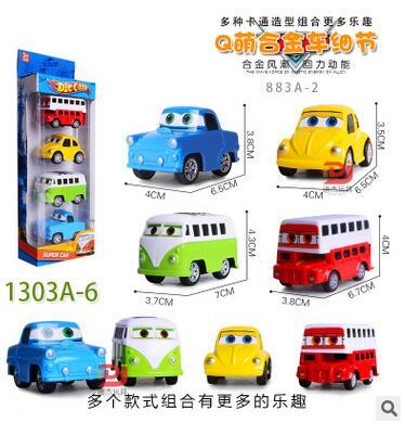 Free shipping 4pcs / set Cartoon Q version of mini pull back alloy toy car model Beetle classic cars car model toy bus(China (Mainland))